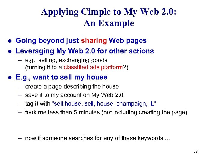 Applying Cimple to My Web 2. 0: An Example Going beyond just sharing Web