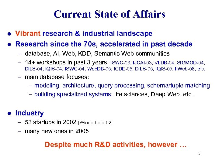 Current State of Affairs Vibrant research & industrial landscape l Research since the 70