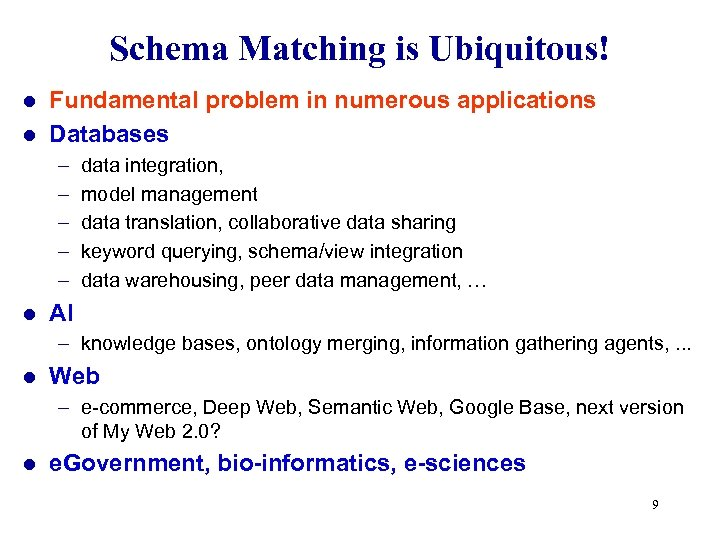 Schema Matching is Ubiquitous! Fundamental problem in numerous applications l Databases l – –