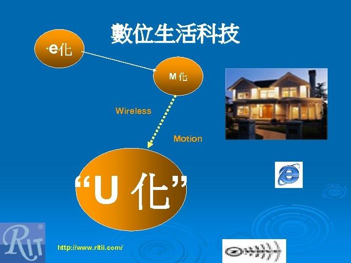 """ e化 數位生活科技 M化 Wireless Motion ""U 化"" http: //www. ritii. com/"