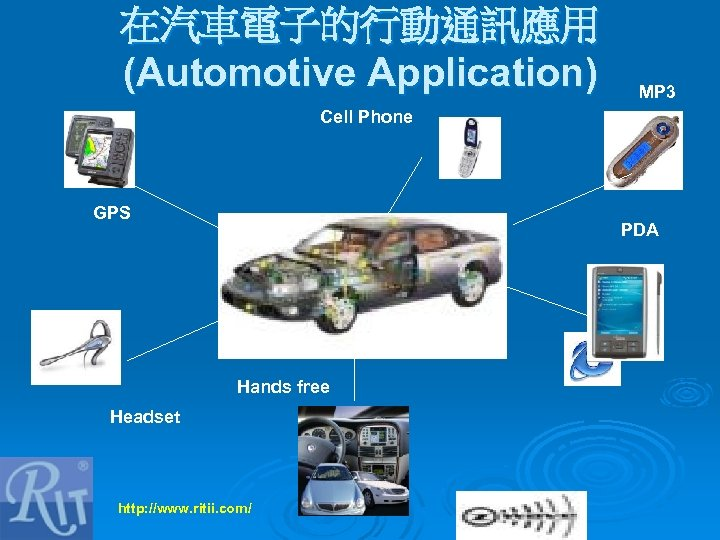 在汽車電子的行動通訊應用 (Automotive Application) MP 3 Cell Phone GPS PDA Hands free Headset http: //www.