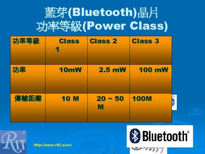 藍芽(Bluetooth)晶片 功率等級(Power Class) 功率等級 Class 1 10 m. W 功率 傳輸距離 10 M http: