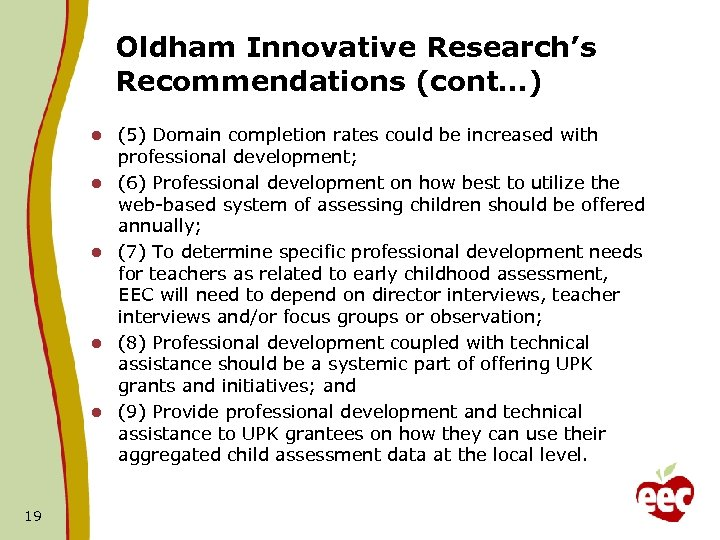 Oldham Innovative Research's Recommendations (cont…) l l l 19 (5) Domain completion rates could