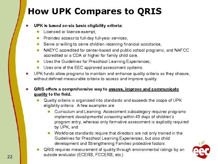 How UPK Compares to QRIS l l l 22 UPK is based on six