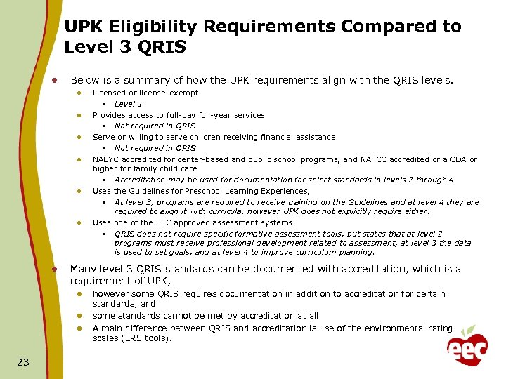 UPK Eligibility Requirements Compared to Level 3 QRIS l Below is a summary of