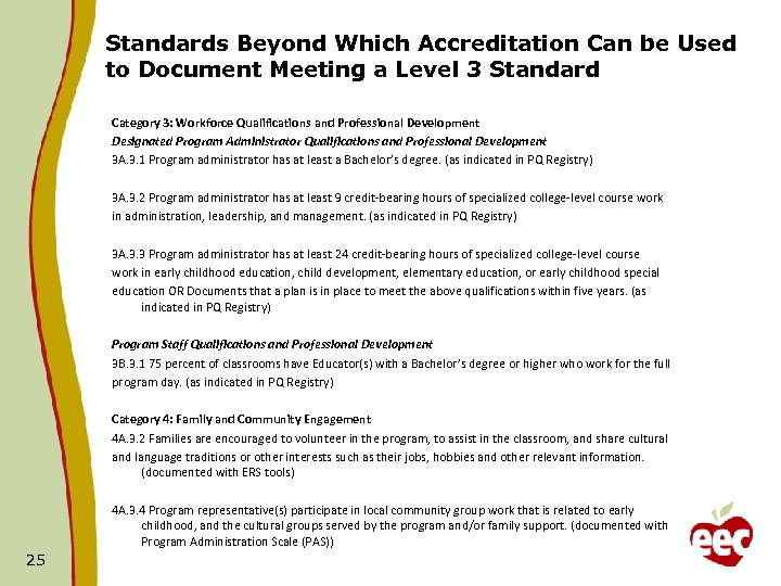 Standards Beyond Which Accreditation Can be Used to Document Meeting a Level 3 Standard