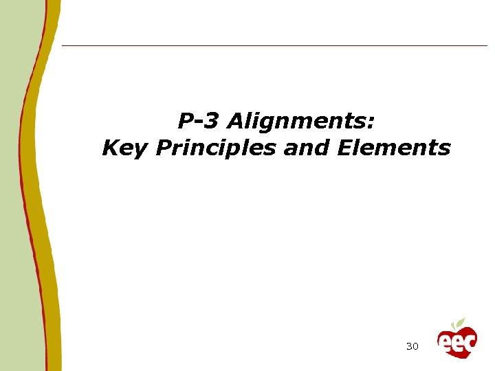 P-3 Alignments: Key Principles and Elements 30