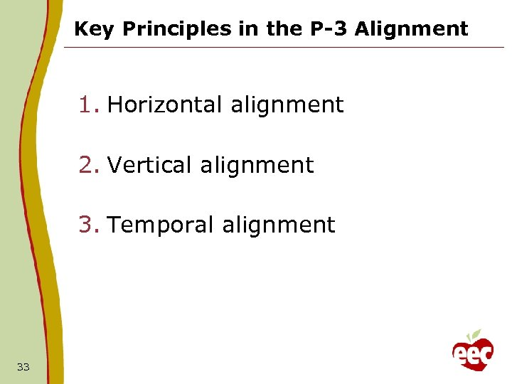 Key Principles in the P-3 Alignment 1. Horizontal alignment 2. Vertical alignment 3. Temporal