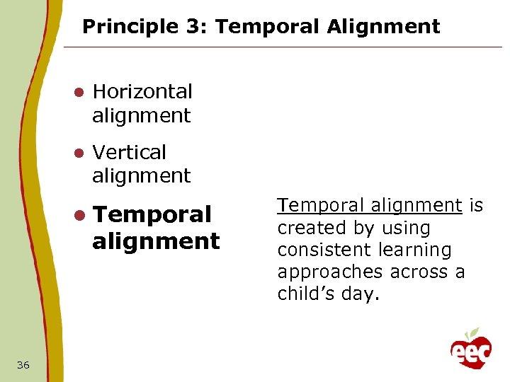 Principle 3: Temporal Alignment l Horizontal alignment l Vertical alignment l Temporal alignment 36