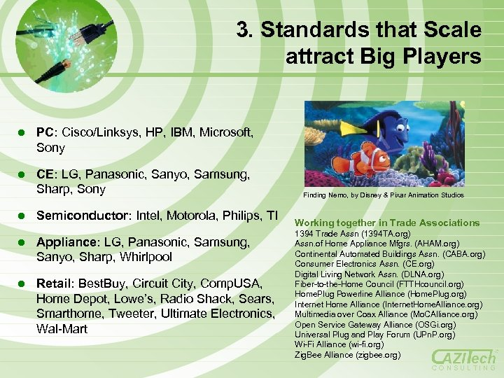 3. Standards that Scale attract Big Players l PC: Cisco/Linksys, HP, IBM, Microsoft, Sony