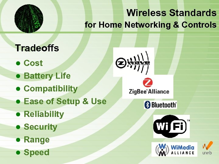 Wireless Standards for Home Networking & Controls Tradeoffs l Cost l Battery Life l