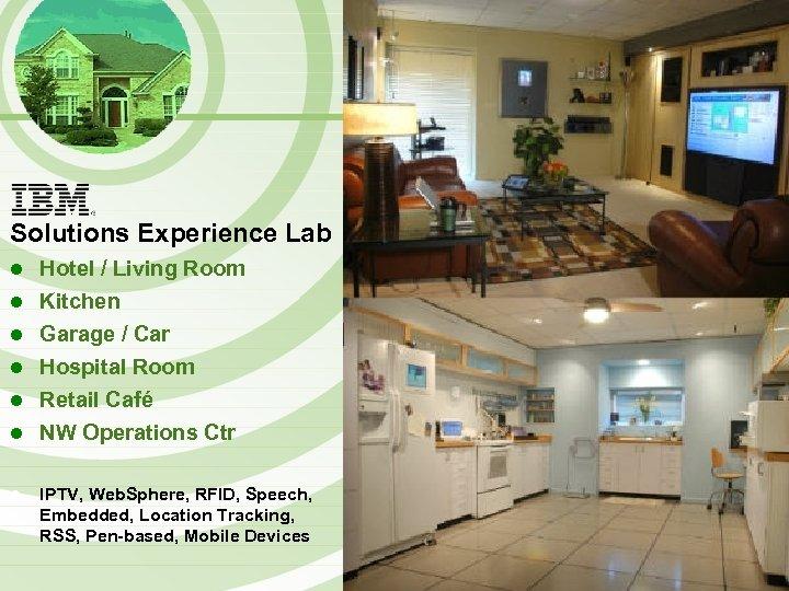 Solutions Experience Lab l l l l Hotel / Living Room Kitchen Garage /