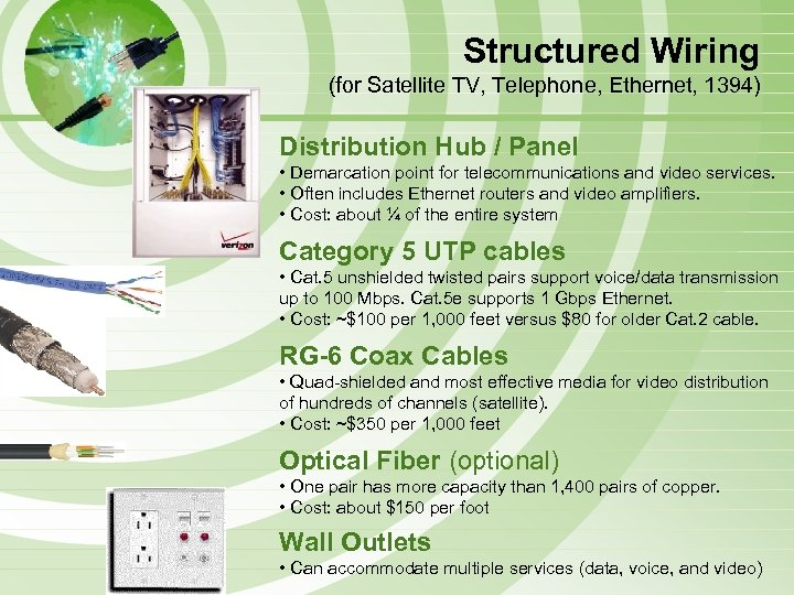 Structured Wiring (for Satellite TV, Telephone, Ethernet, 1394) Distribution Hub / Panel • Demarcation