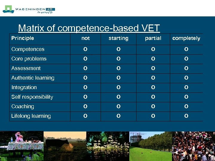 Matrix of competence-based VET Principle not starting partial completely Competences O O Core problems