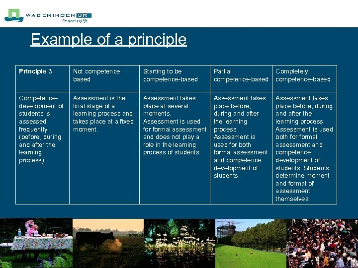 Example of a principle Principle 3 Not competence based Starting to be competence-based Partial
