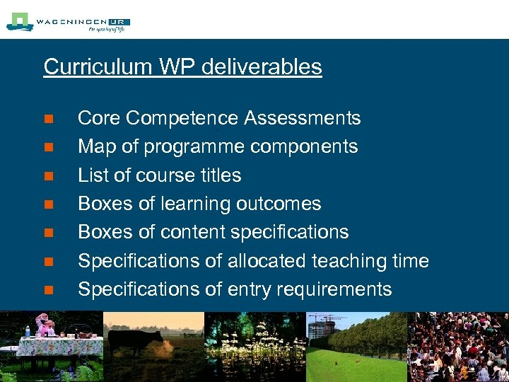 Curriculum WP deliverables n n n n Core Competence Assessments Map of programme components