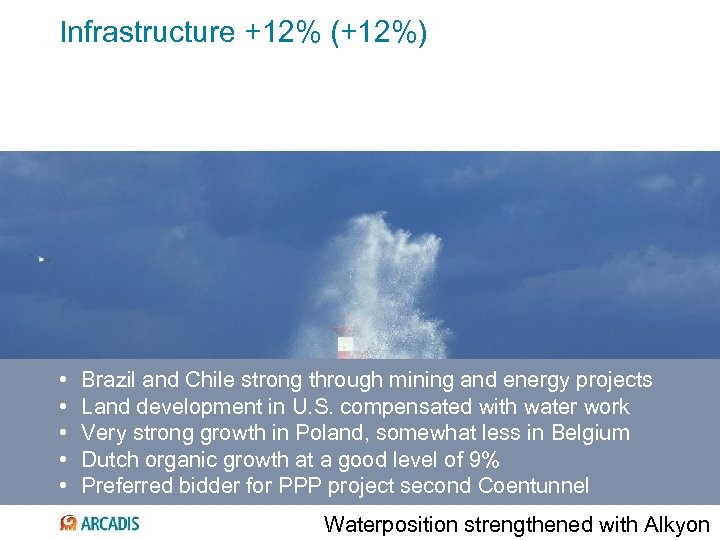 Infrastructure +12% (+12%) • • • Brazil and Chile strong through mining and energy