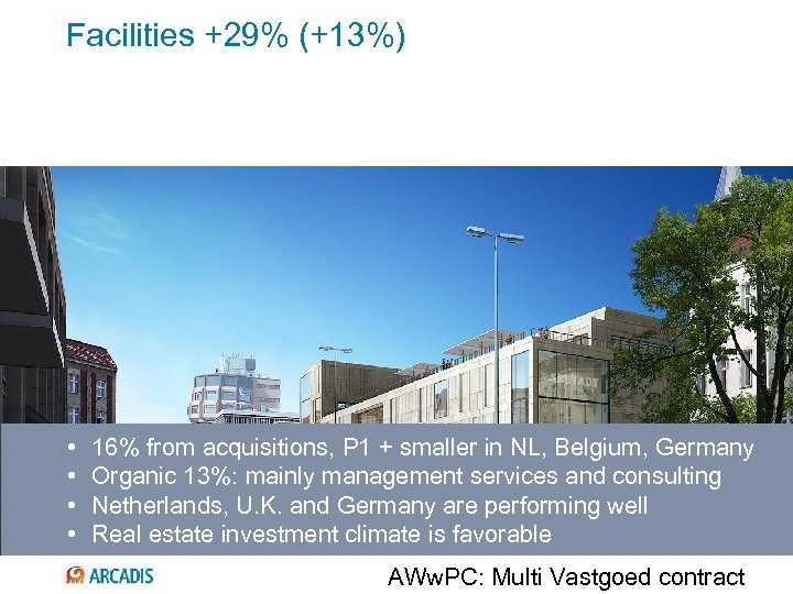 Facilities +29% (+13%) • • 16% from acquisitions, P 1 + smaller in NL,