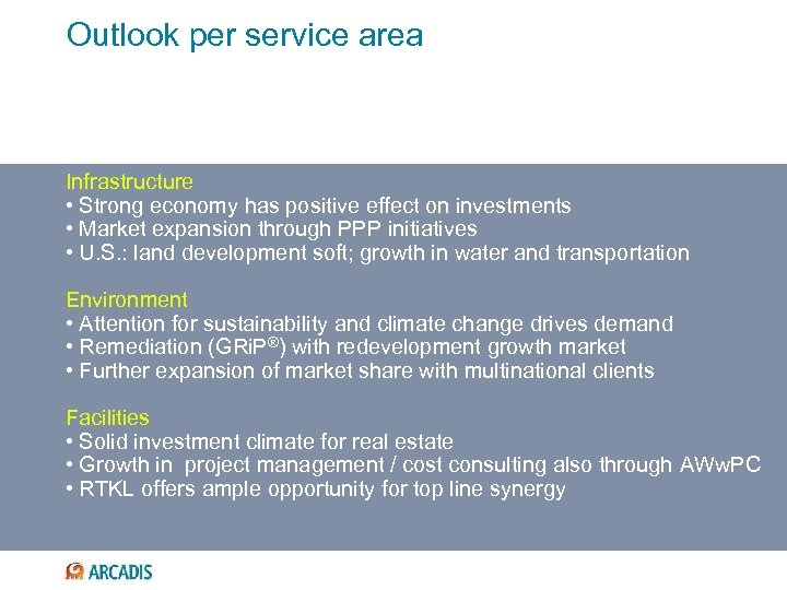 Outlook per service area Infrastructure • Strong economy has positive effect on investments •