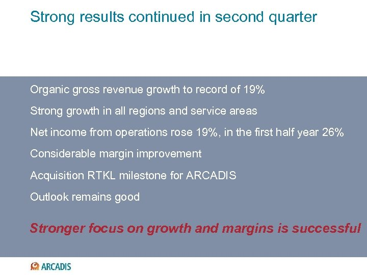 Strong results continued in second quarter Organic gross revenue growth to record of 19%
