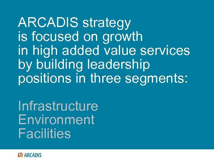 ARCADIS strategy is focused on growth in high added value services by building leadership