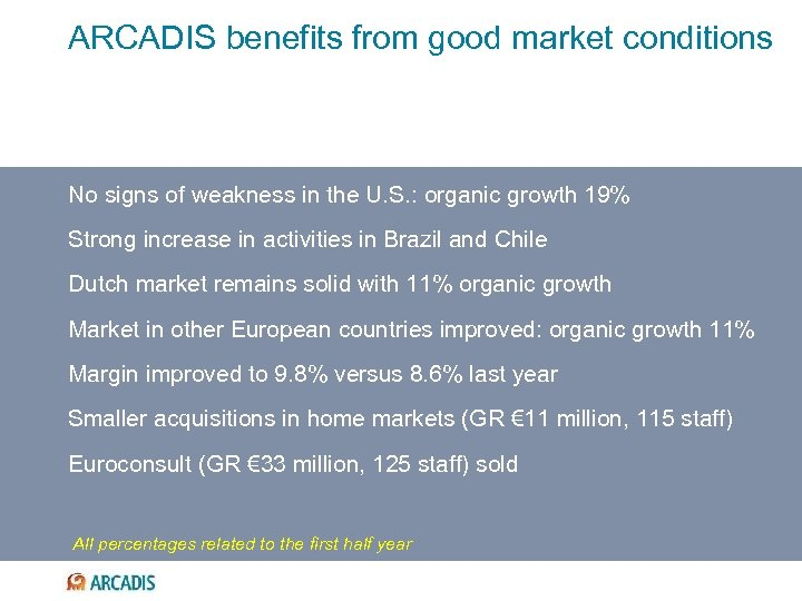ARCADIS benefits from good market conditions No signs of weakness in the U. S.