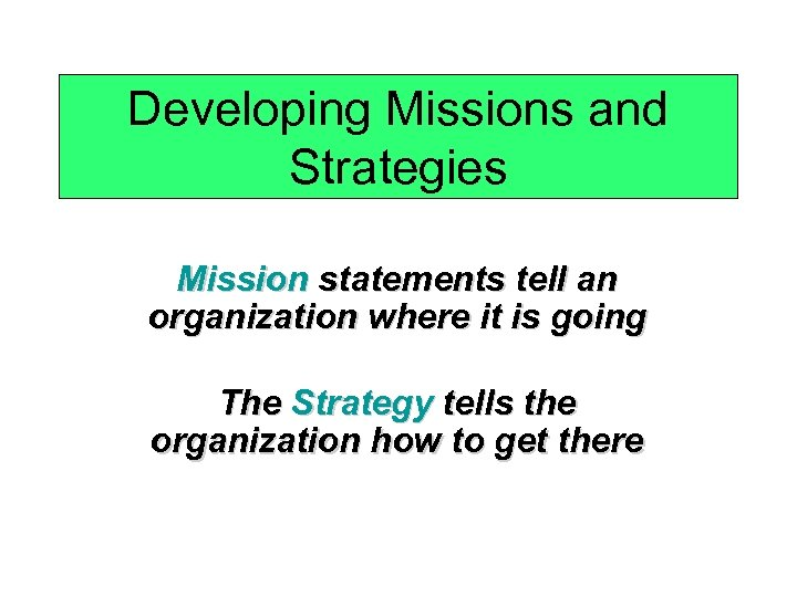 Developing Missions and Strategies Mission statements tell an organization where it is going The