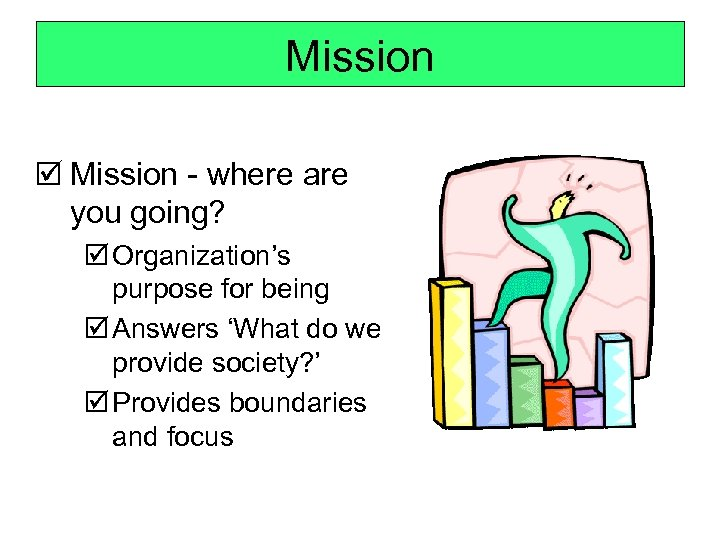 Mission þ Mission - where are you going? þ Organization's purpose for being þ