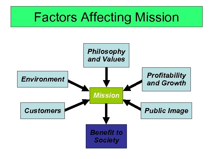 Factors Affecting Mission Philosophy and Values Profitability and Growth Environment Mission Customers Public Image