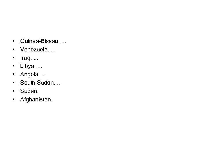 • • Guinea-Bissau. . Venezuela. . Iraq. . Libya. . Angola. . South
