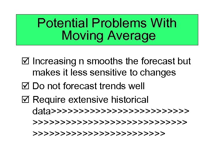 Potential Problems With Moving Average þ Increasing n smooths the forecast but makes it