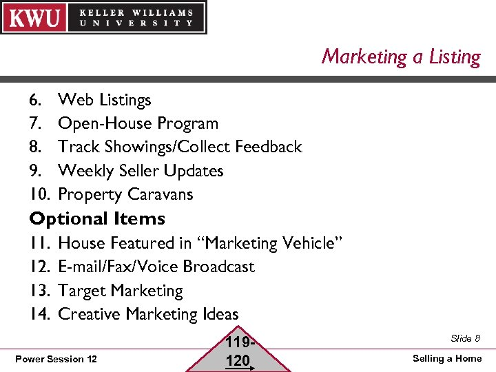 Marketing a Listing 6. 7. 8. 9. 10. Web Listings Open-House Program Track Showings/Collect