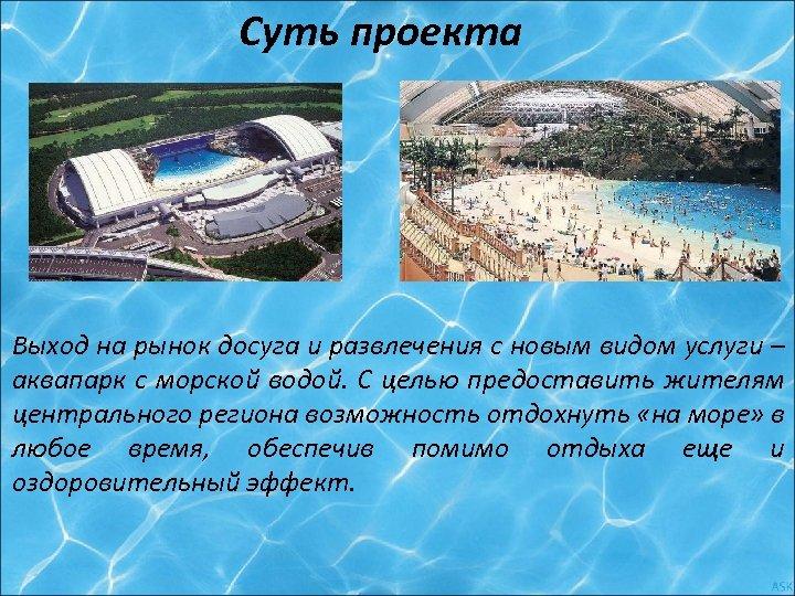 Суть проекта Выход на рынок досуга и развлечения с новым видом услуги – аквапарк