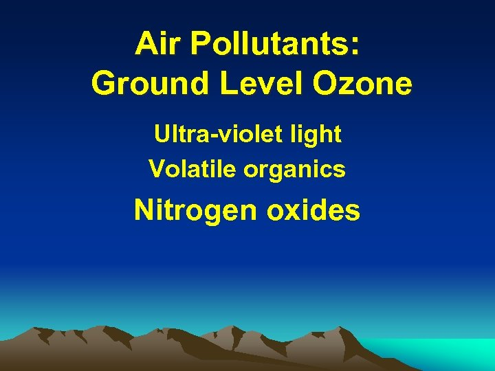 Air Pollutants: Ground Level Ozone Ultra-violet light Volatile organics Nitrogen oxides