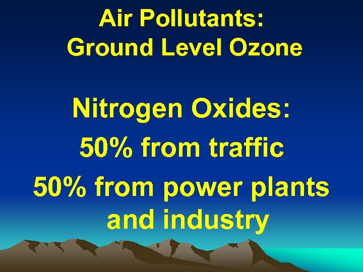 Air Pollutants: Ground Level Ozone Nitrogen Oxides: 50% from traffic 50% from power plants