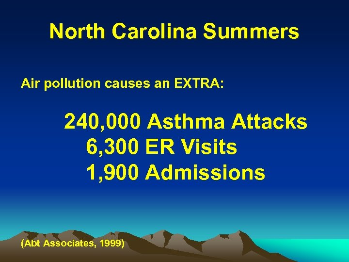 North Carolina Summers Air pollution causes an EXTRA: 240, 000 Asthma Attacks 6, 300