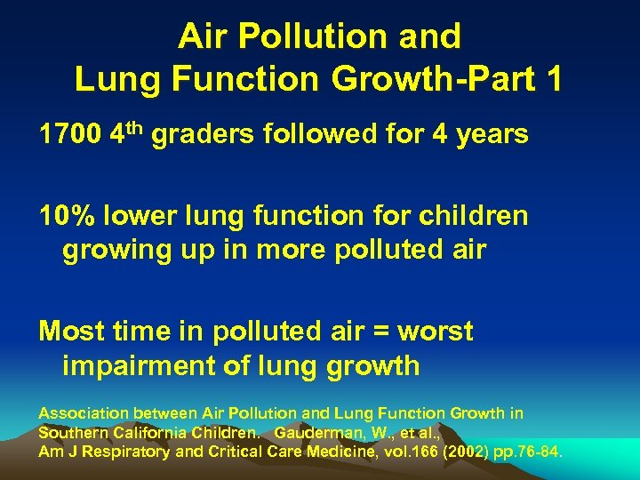 Air Pollution and Lung Function Growth-Part 1 1700 4 th graders followed for 4