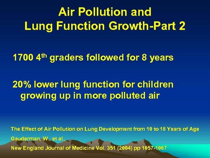 Air Pollution and Lung Function Growth-Part 2 1700 4 th graders followed for 8