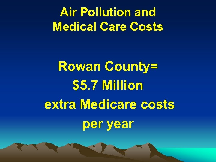 Air Pollution and Medical Care Costs Rowan County= $5. 7 Million extra Medicare costs