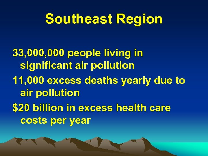 Southeast Region 33, 000 people living in significant air pollution 11, 000 excess deaths