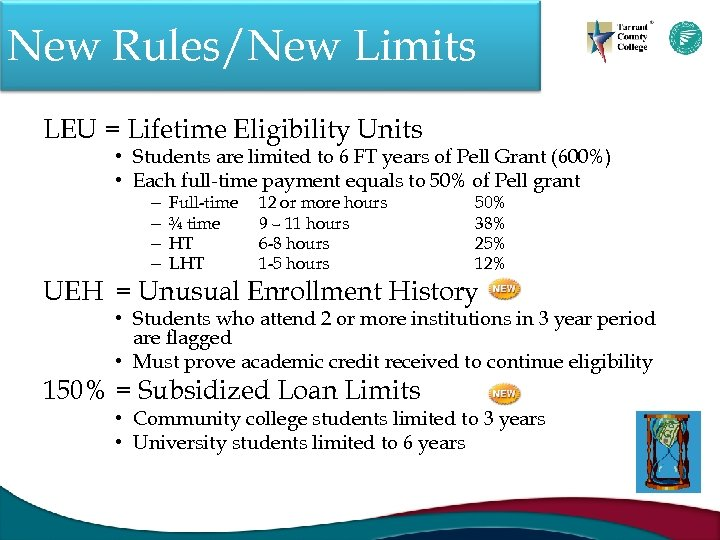 New Rules/New Limits LEU = Lifetime Eligibility Units • Students are limited to 6