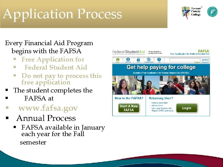 Application Process Every Financial Aid Program begins with the FAFSA § Free Application for