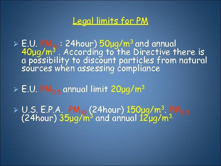 Legal limits for PM Ø Ε. U. PM 10 : 24 hour) 50μg/m 3