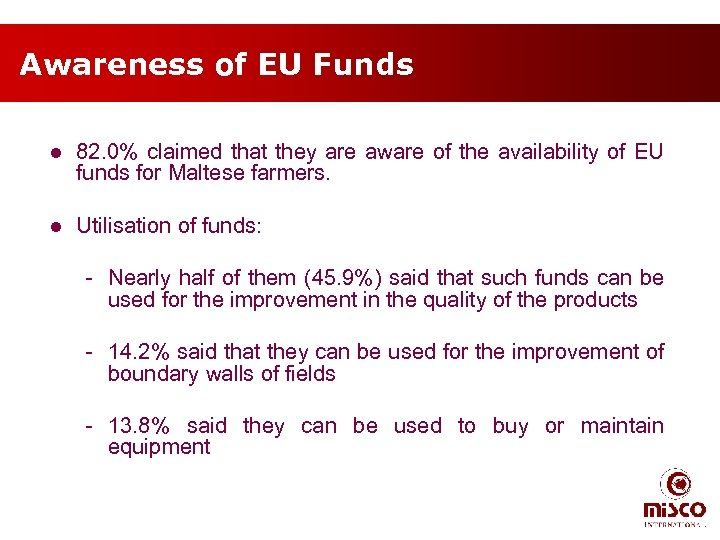 Awareness of EU Funds l 82. 0% claimed that they are aware of the