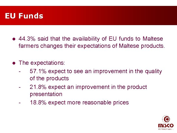 EU Funds l 44. 3% said that the availability of EU funds to Maltese