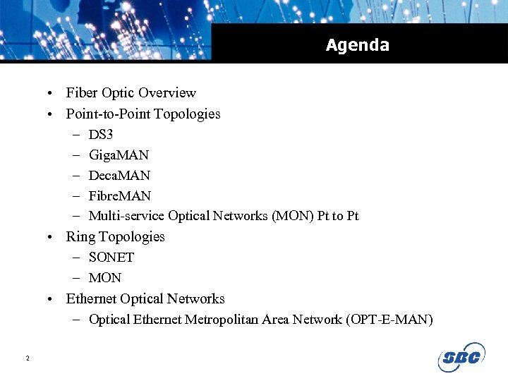 Agenda • Fiber Optic Overview • Point-to-Point Topologies – DS 3 – Giga. MAN