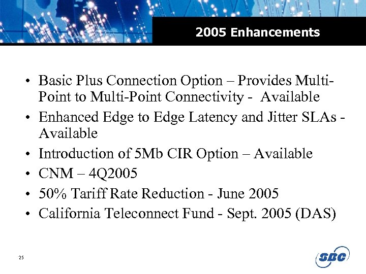 2005 Enhancements • Basic Plus Connection Option – Provides Multi. Point to Multi-Point Connectivity