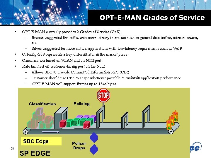 OPT-E-MAN Grades of Service • • OPT-E-MAN currently provides 2 Grades of Service (Go.