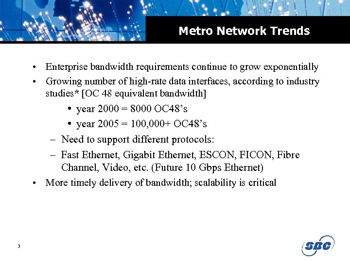 Metro Network Trends • Enterprise bandwidth requirements continue to grow exponentially • Growing number