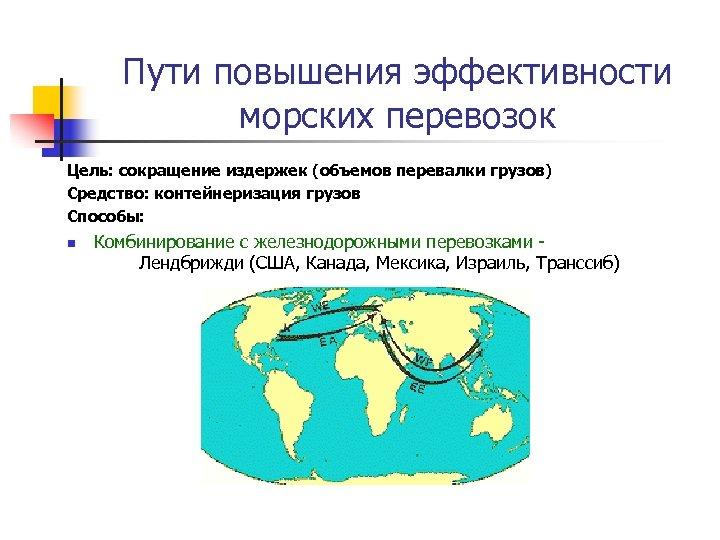 Пути повышения эффективности морских перевозок Цель: сокращение издержек (объемов перевалки грузов) Средство: контейнеризация грузов